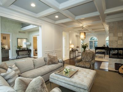 Remodeling Living Room Coffered Ceiling