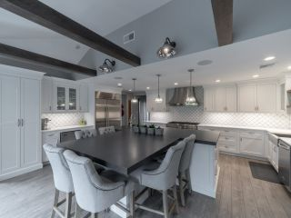 Custom Kitchen Remodel Wood Beams Gray and White