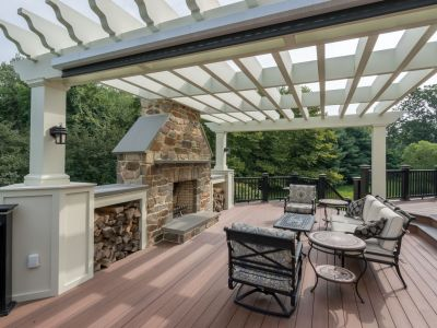 Home Renovation Deck and Outdoor Fireplace