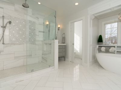 Bath Remodel White Marble